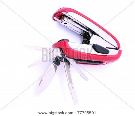 Office Multifunctional Knife With Scissors And Stapler Isolated On White Background