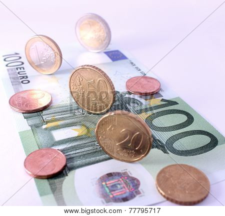 Studio Shot Of Complete Set Of Euro Coins On 100 Euro Bank Note. Symbol For European Economy, Busine