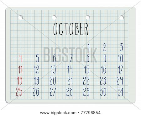 2015 Year Calendar On Notebook Page