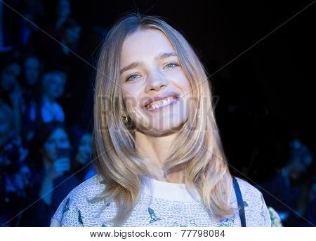 MOSCOW - OCTOBER 23: Famous  Model Natalia Vodianova during Mercedes-Benz Fashion Week Russia on October 23, 2014 in Moscow, Russia.