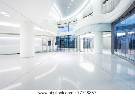 futuristic modern office building interior in urban city