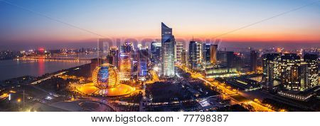 panoramic cityscape  and traffic of hangzhou at night