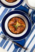 stock photo of artichoke hearts  - Spinach Artichoke Baked Egg Souffle - JPG