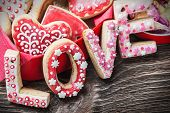 image of cookie  - baked cookies with the word love and the numbers 14 Valentines Day - JPG