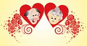 stock photo of grandfather  - composition with his grandmother and grandfather in red hearts - JPG