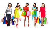 pic of boxing day  - Beautiful women group with shopping bags isolated white background - JPG