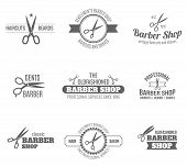 picture of barber  - Barber shop scissors and shaves professional haircut and beard cut label black set isolated vector illustration - JPG