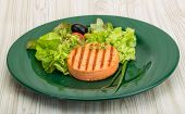 foto of crab-cakes  - Grilled Fish cakes in the bowl with salad leaves - JPG