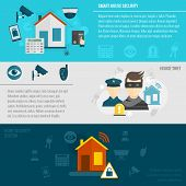 stock photo of clever  - Home security flat banner set with smart house thief guard alarm system isolated vector illustration - JPG
