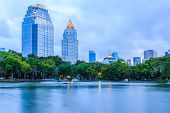 foto of movable  - Dusk view of Bangkok with movable boat from Lumpini Park Bangkok Thailand - JPG