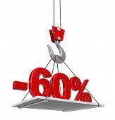 stock photo of crane hook  - Percent On Crane Hook - JPG