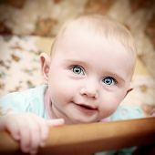 picture of bassinet  - Vignetting Photo of Happy Little Baby Portrait in Bassinet - JPG