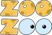 foto of zoo  - Cartoon Character Skin Zoo Text With Eyes - JPG