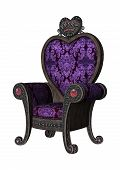 image of throne  - 3D digital render of a purple fairytale throne isolated on white background - JPG