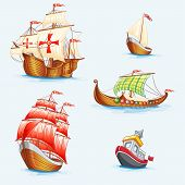 picture of galleon  - Set of historical vector ships  - JPG