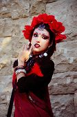 stock photo of sari  - Indian woman with dramatic makeup dressed in red sari - JPG