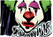 stock photo of clown face  - Sketch Drawing Illustration of Sad Clown Face - JPG