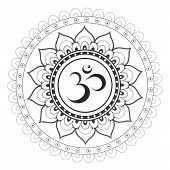 picture of sanskrit  - Om Aum sanskrit symbol with mandala ornament - JPG