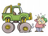 pic of monster-truck  - Concerned toon guy scratching his head while looking at his monster truck with a flat tire - JPG