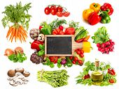 picture of blackboard  - Vegetables and herbs isolated on white background - JPG