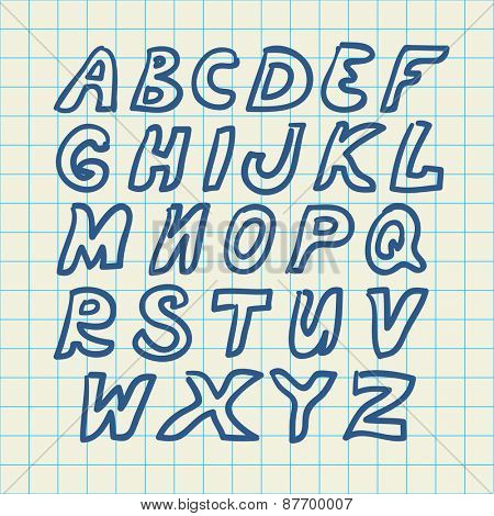 Hand drawn alphabet, vector illustration