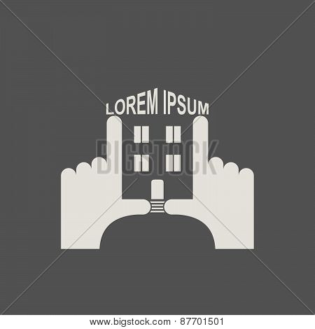 House in hands. Logo and icon for  property. Template business solutions Concept idea for constructi