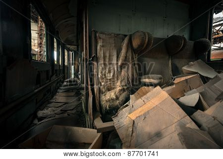Messy vehicle interior of a train carriage