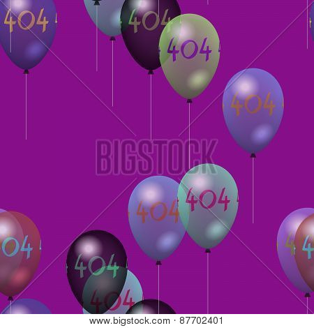 Tileable party air balloons pattern with number 404