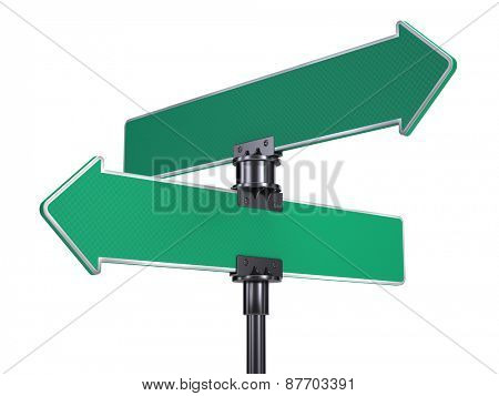 blank road signs arrows isolated on white