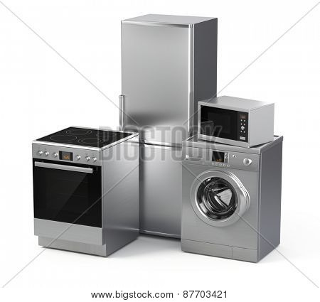 Home appliances. Refrigerator, washing machine, electric stove and microwave isolated on white
