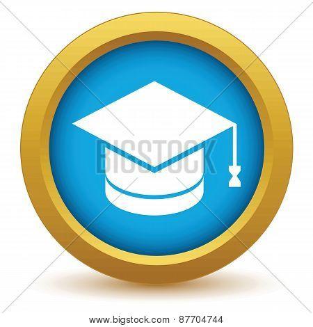 Gold graduate cap icon