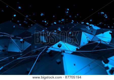 Abstract 3d rendering of blue surface with chaotic cubes.