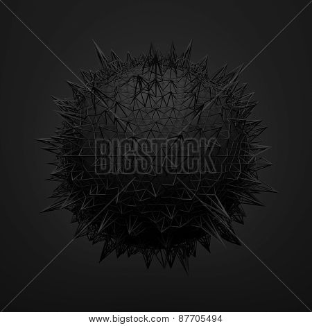 Abstract 3d rendering of black sphere with chaotic structure.
