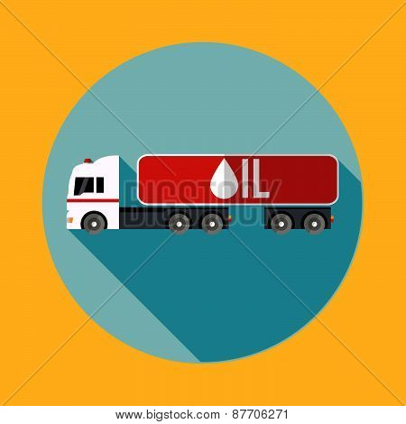 White Truck With A Red Trailer Carrying Oil. Flat Icons Vector Illustration For Your Design Or Postc