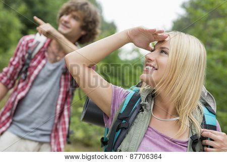 Female backpacker looking away while man showing something in forest