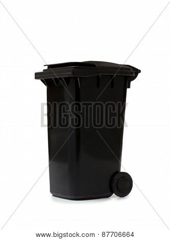 Black Garbage Bin On White Background