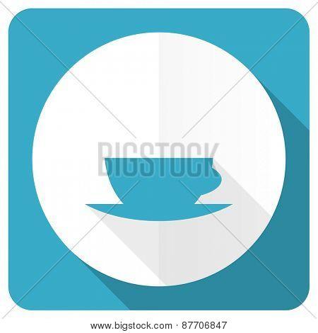 espresso blue flat icon caffe cup sign