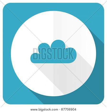 cloud blue flat icon waether forecast sign