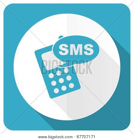 sms blue flat icon phone sign