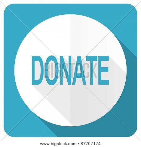 donate blue flat icon