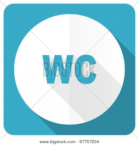toilet blue flat icon wc sign