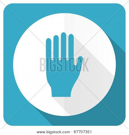 stop blue flat icon hand sign