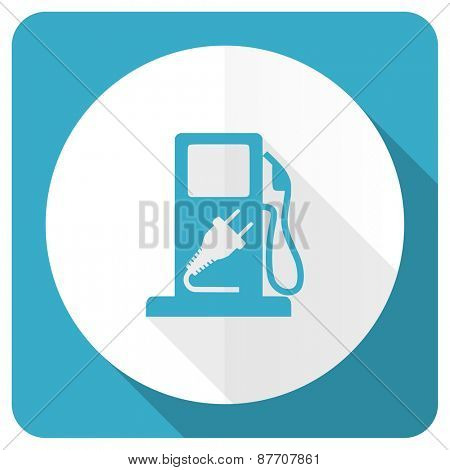 fuel blue flat icon hybrid fuel sign
