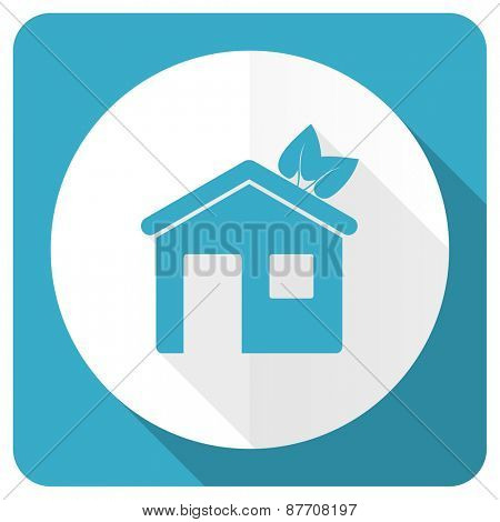 house blue flat icon ecological home symbol