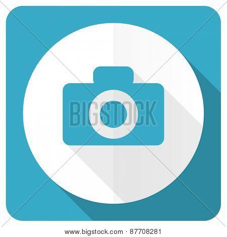 camera blue flat icon