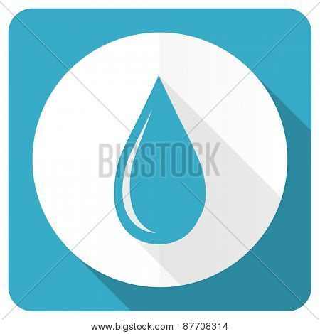 water drop blue flat icon