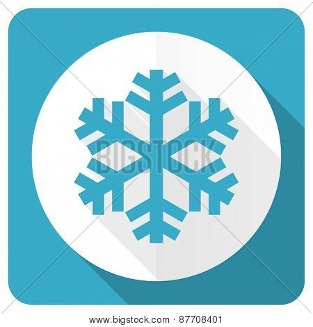 snow blue flat icon air conditioning sign