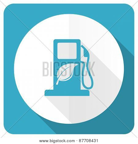 biofuel blue flat icon bio fuel sign