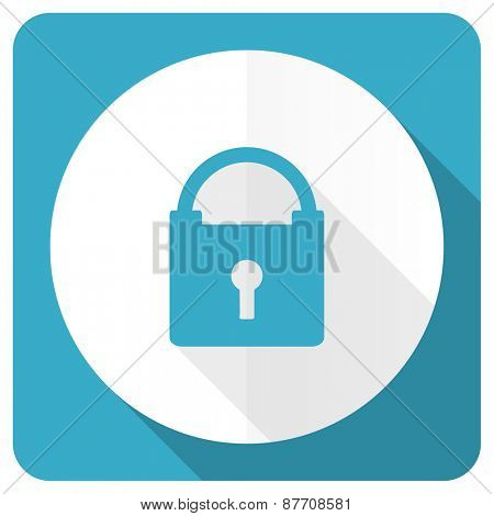padlock blue flat icon secure sign