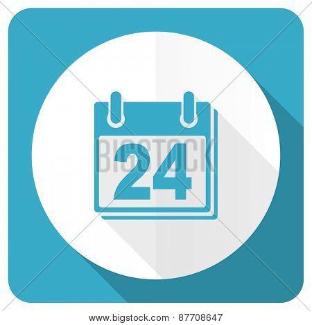 calendar blue flat icon organizer sign agenda symbol